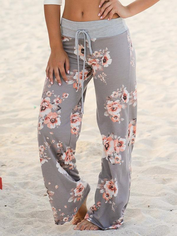 Floral Printed Drawstring Wide Leg Pants