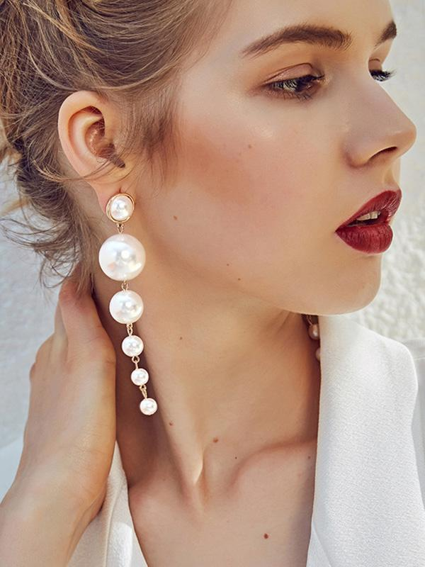Long Pearl Earrings For Women