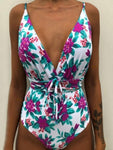 Floral Print Drawstring Design One-Pieces