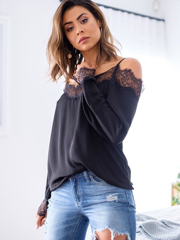 Lace Splices Cold Shoulder Blouses