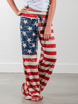 Flag Drawstring High Waist Wide Leg Pants