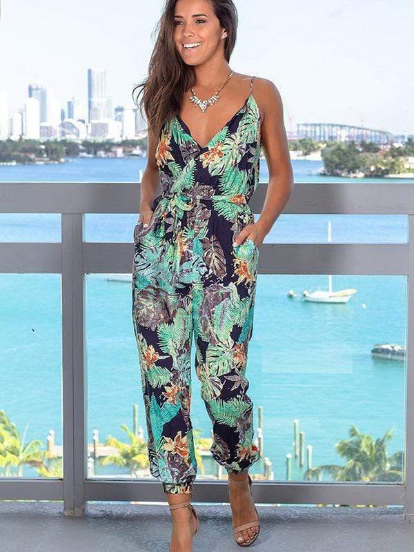 Tropical Leaf Printed Jumpsuits