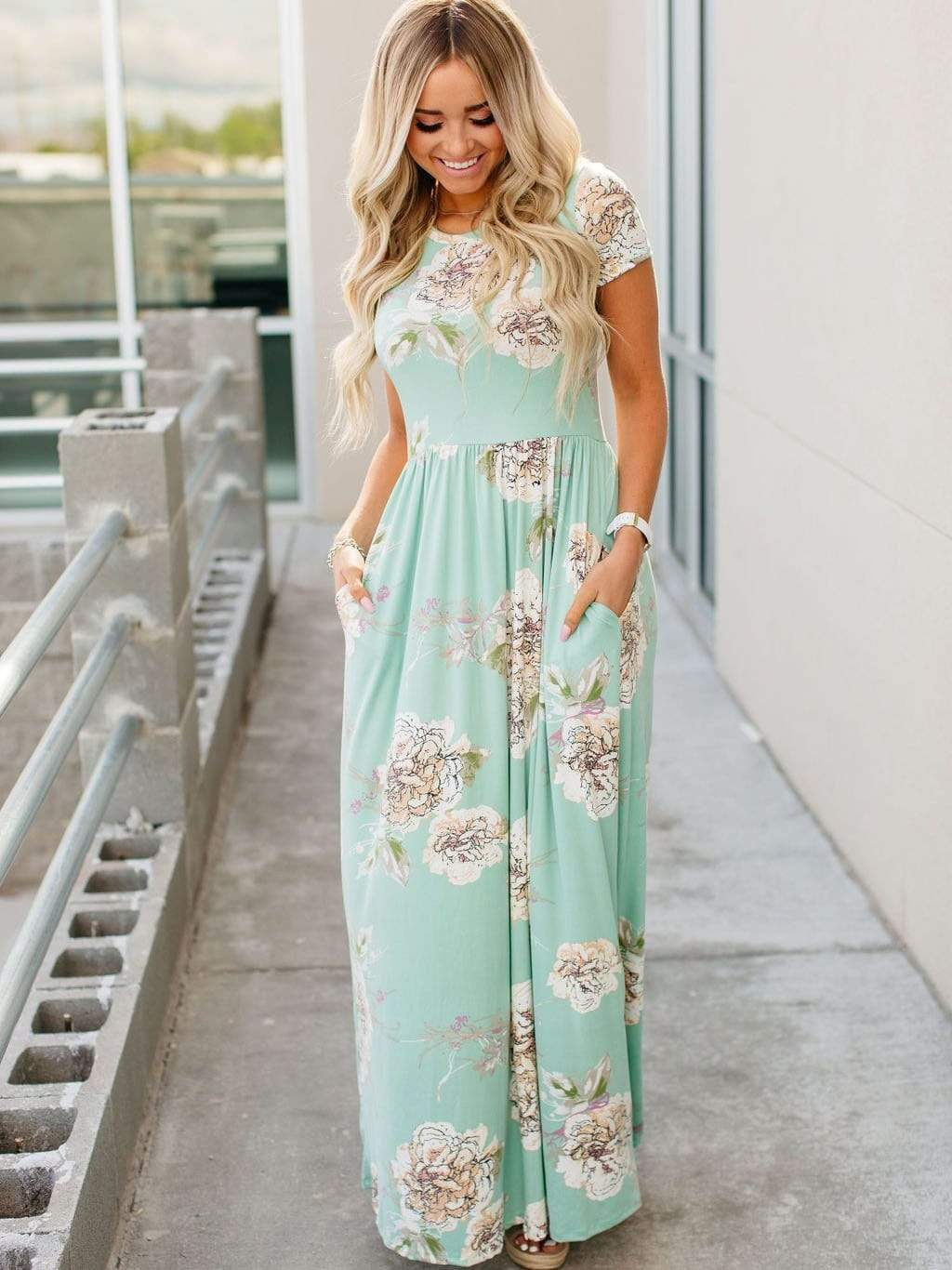 Floral Print Maxi Dresses With Pockets