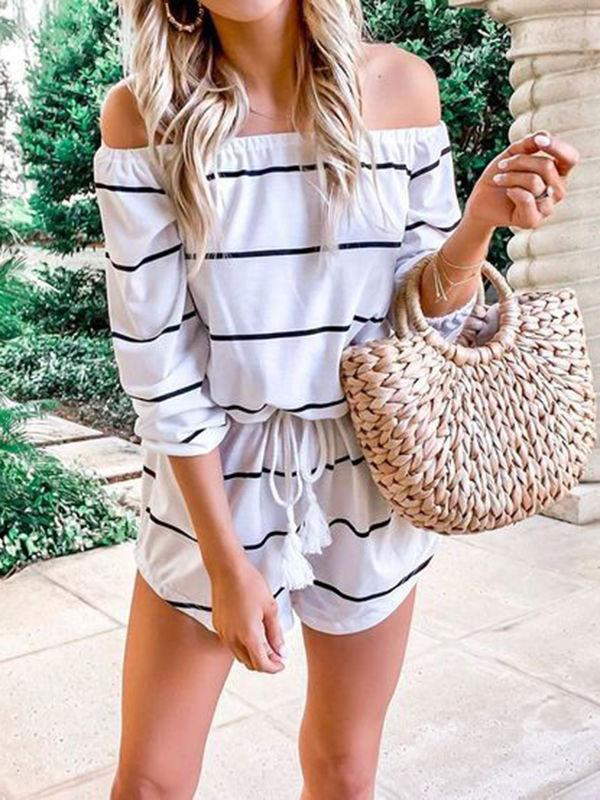 Off The Shoulder Stripe Jumpsuits