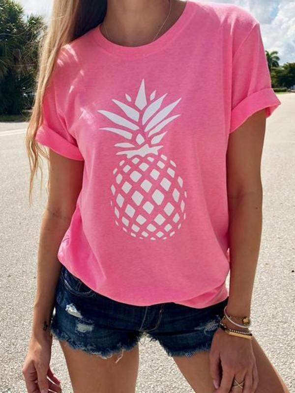 Pineapple Floral Printed T-shirts