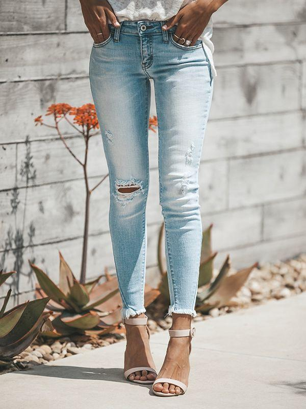 Hole tassel Frayed Ankle Jeans