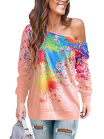 Tie Dyes Cold Shoudler Long Sleeve Top