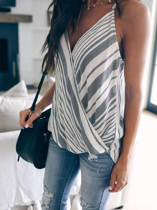 Striped Stitching Halter Tanks