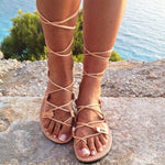 Cross Bandage Hollow Out Flat Sandals