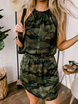 Halter Neckline Camouflage Printed Dress