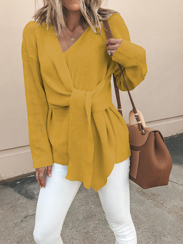 V-Neck Solid Color Knot Sweaters