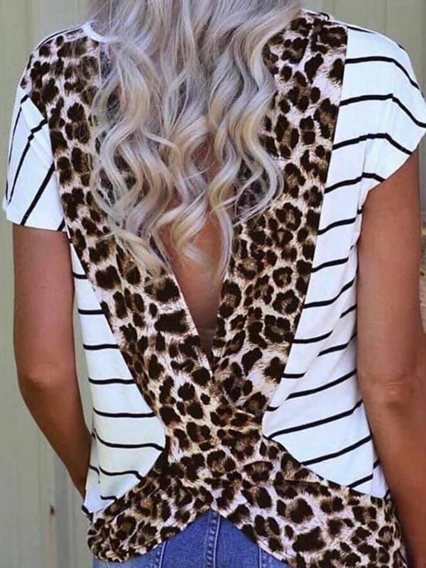 Leopard Stripe Open Back Top