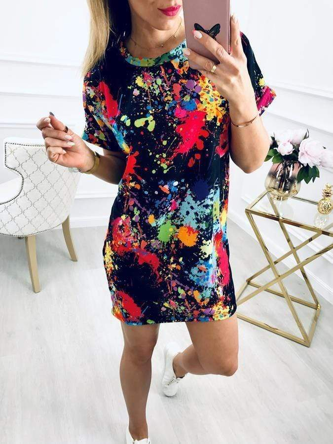 Colorful Ink-printed Casual Mini Dresses