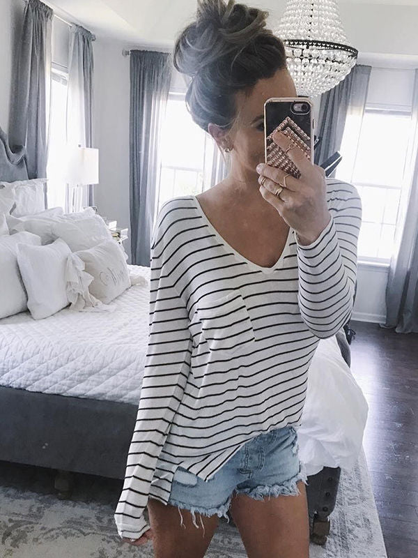 V-Nekcline Stripe Long Sleeve Top