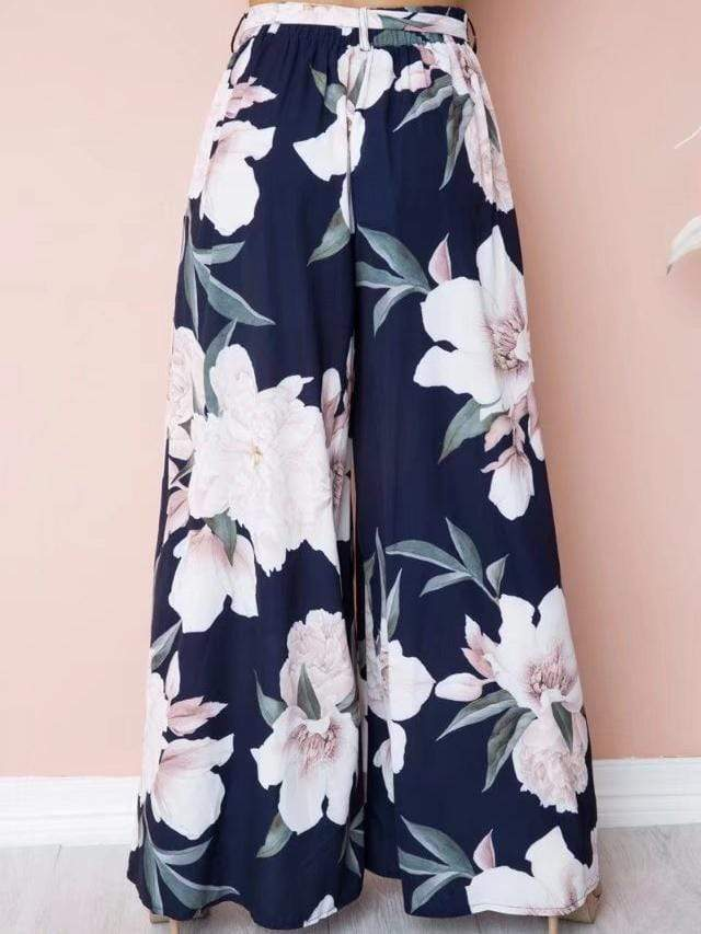 Floral Drawstring High Waist Pants