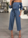Off the Shoulder Denim Jumpsuit