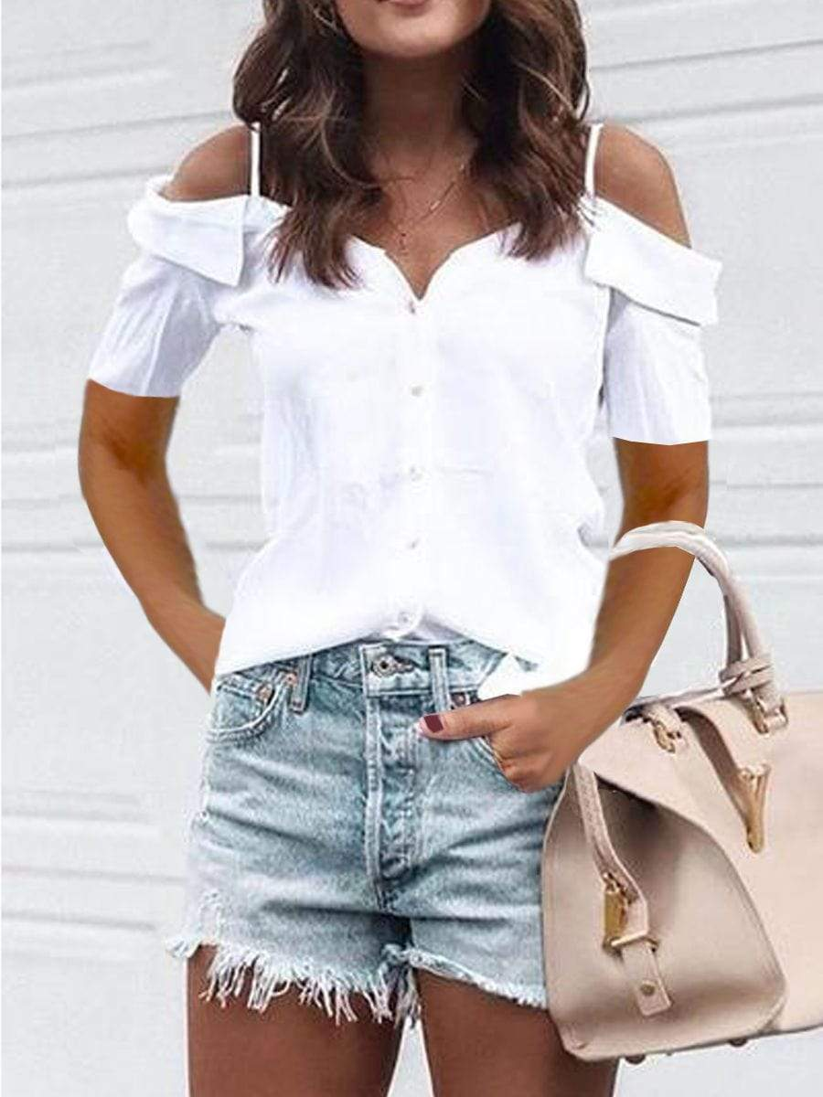 Cold Shoulder Short Sleeve T-shirts
