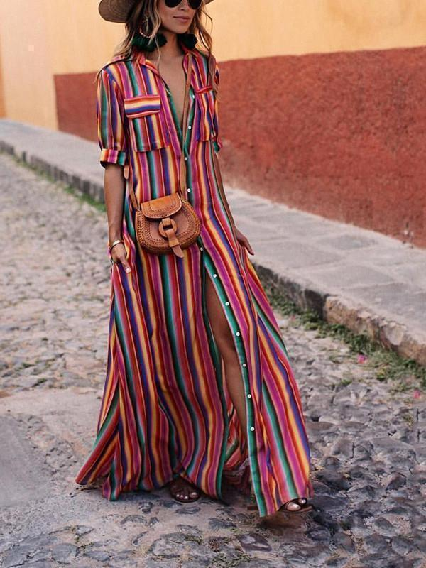 Rainbow Stripe Front Button Pockets Dresses-Maxi Dresses-vaesus.com.com