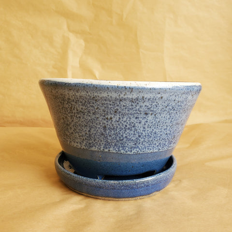 Speckled Blue Handmade Planter Pot with Tray