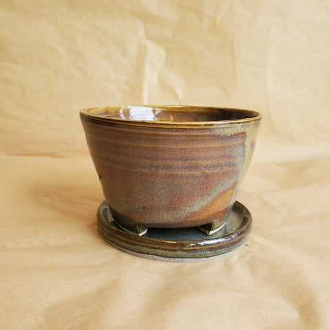 Lakeside Green Handmade Planter Pot with Tray