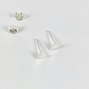 Small Triangle Sterling Silver Stud Earrings