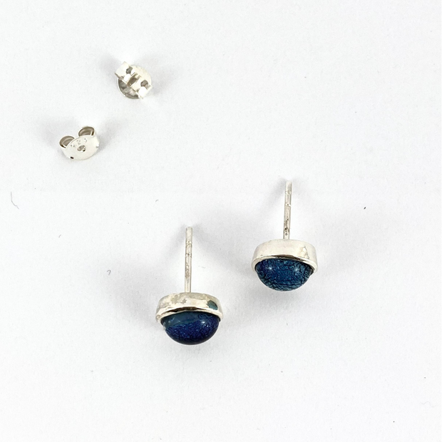 Silver Dichroic Glass Studs