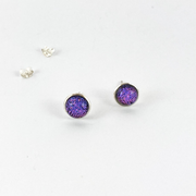 Purple Dichroic Glass Studs