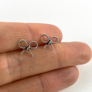 Sterling Silver Bow Stud Earrings