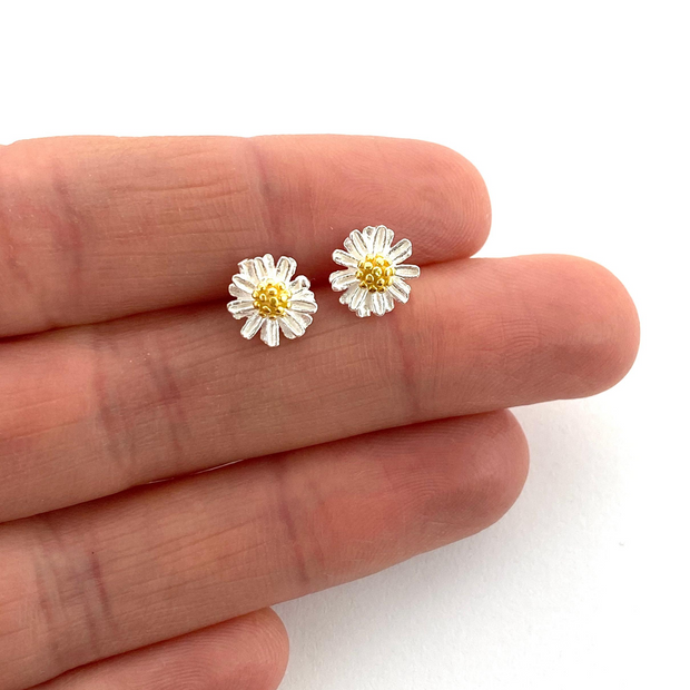 Silver & Gold Daisy Studs