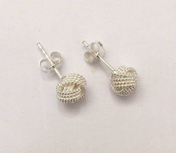 Sterling Silver 8 mm Knot Stud Earrings