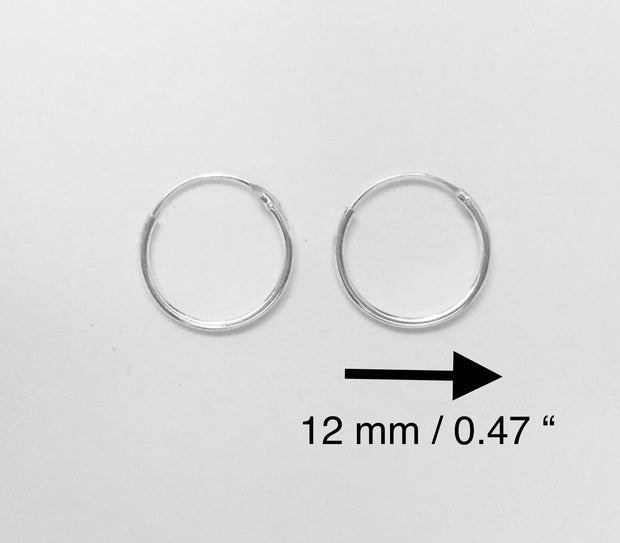 Small Sterling Silver 12 mm Hoop Earrings