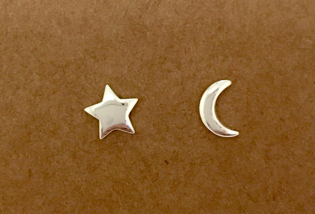 Sterling Silver Star Moon Stud Earrings