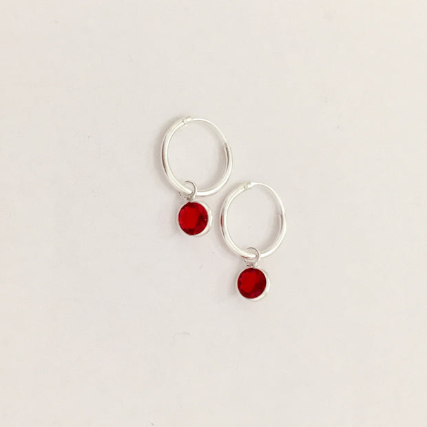 Sterling Silver Red CZ Hoop Earrings