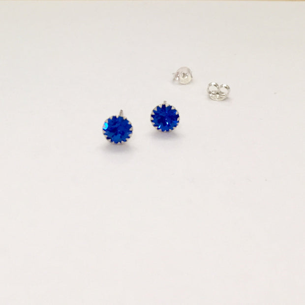 Sterling Silver Blue Crystal Stud Earrings