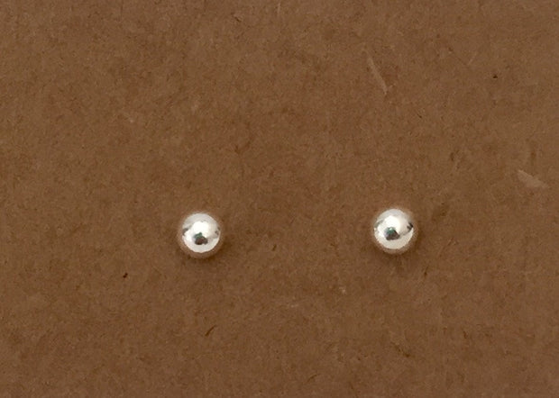 Sterling Silver Mismatched Tiny Silver Moon Bar Ball Stud Earrings