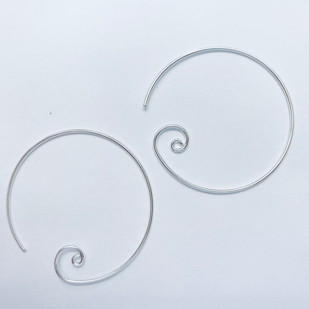 Sterling Silver Large Spiral Hoop Earrings