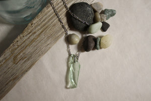 Beach Glass Necklace - Light Green with a Twist