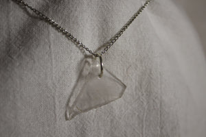 Beach Glass Necklace - Clear Triangle
