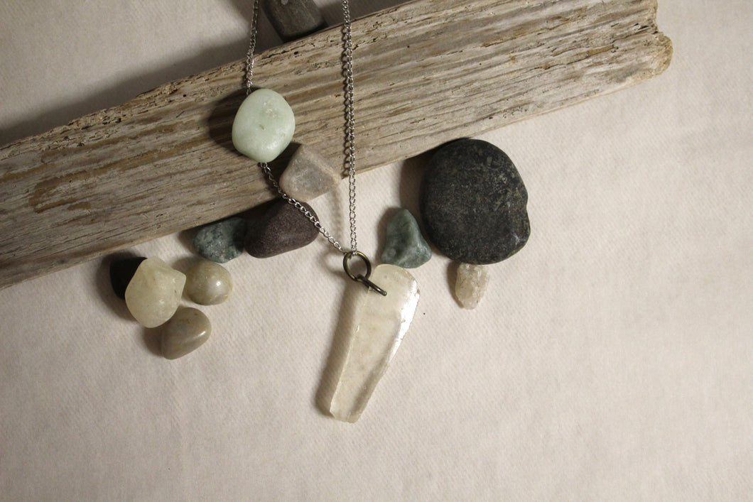 Beach Glass Necklace - Clear Digit