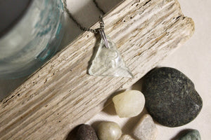 Beach Glass Necklace - Clear R
