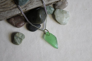 Beach Glass Necklace - Green Eyed Lady
