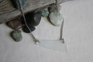 Beach Glass Necklace - Blue Plated