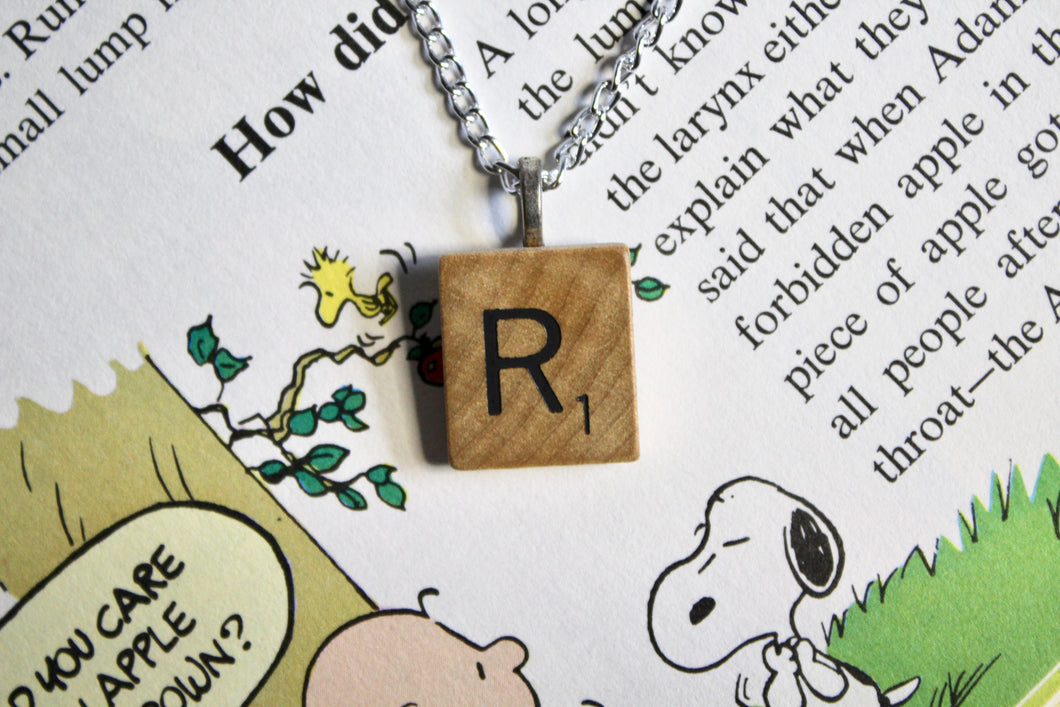 Scrabble Tile Necklace - R