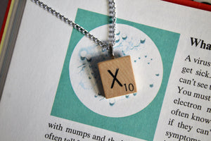 Scrabble Tile Necklace - X