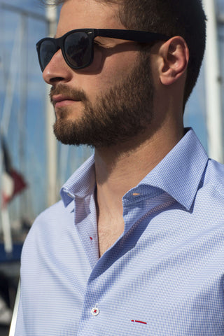 Monaco | Modern Multipurpose Slim Fit Pied de Poule Blue Men's Dress Shirt with red contrast stitching - Li Brizzi Shirt