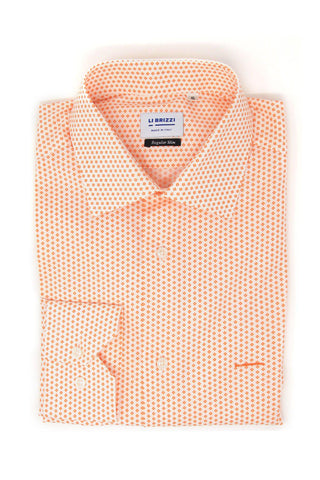 Anacapri | Slim Fit Vibrant Orange Special Print Men's Casual Shirt - Li Brizzi Shirt