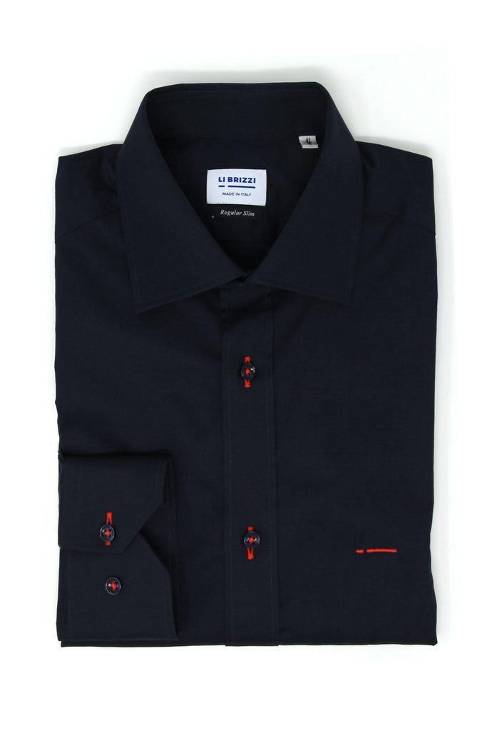 Barcelona | Charming and Comfortable Slim Fit Men's Dress Shirt with red contrast stitching - Li Brizzi Shirt