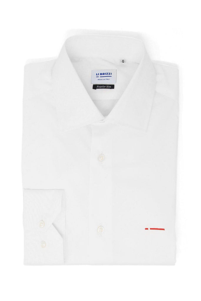 Cape Town | Modern Non-Iron Slim Fit White Men's Dress Shirt with red stitching details - Li Brizzi Shirt