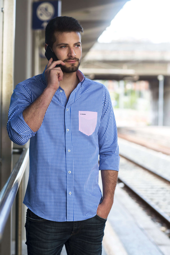 Charleston | Einzigartiges Design Slim Fit Check Blue Herrenhemd mit rosa Kontrasttasche - Li Brizzi Shirt