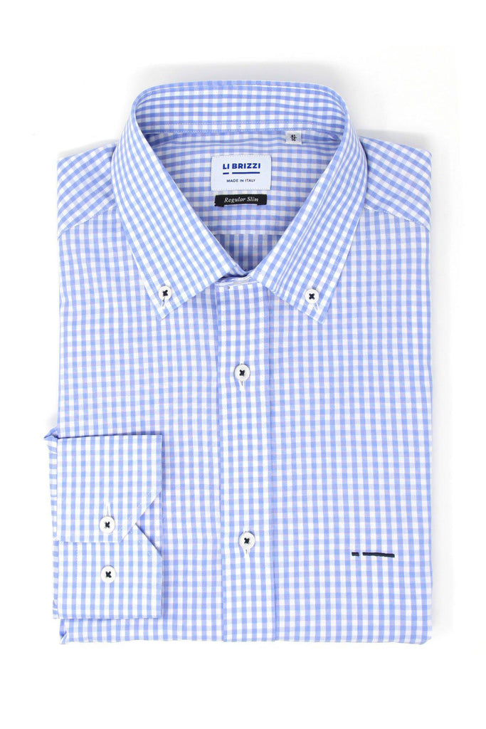 Denver | Must-Have Slim Fit Check Blue Men's Dress Shirt with contrast stitching - Li Brizzi Shirt